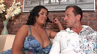 Sluttishly looking BBW Jasmine Black tries to satisfy three sex-hungry dudes