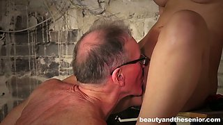 Old man fucks fresh babe Anina Silk and licks her tasty looking cunt