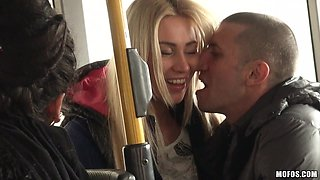 Fucking A Blonde Right In The Public Bus