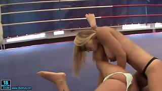 Two busty wrestling gals have lesbo sex