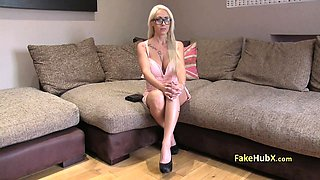 Sexy glasses blonde fucks on casting