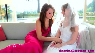 Real bride seduced by her lesbian bridesmaids