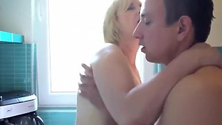 Hot Blonde Mom Fuck Young Men in Kitchen