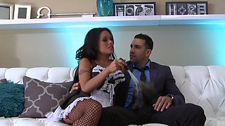 Kaylani Lei in stockings gets her shaved pussy fixed missionary style