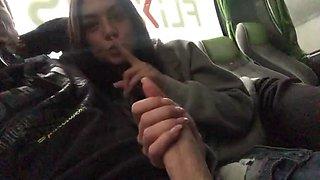Private blowjob in bus