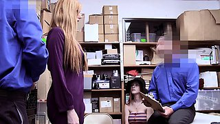 Busty redhead teen and MILF mom thieves punish fucked