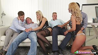 Two blondes in hot bisex orgy