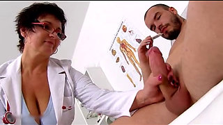Horny Old Nurse Kaysha Milking a White Cock