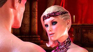3D Big Tits Blonde enjoys big dick sucking with facial - 3D Cartoon