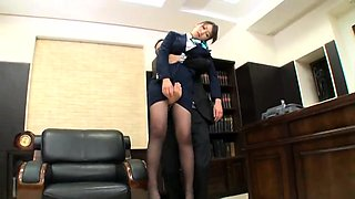 Beautiful Oriental secretary gets gangbanged in the office