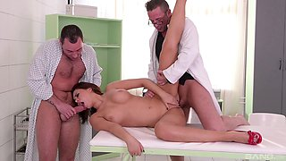 Seductive Anna Polina between two well-hung aroused fellows