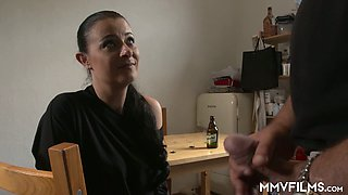 Slutty housewife Bonny Devil is fucked by bald headed dude in the kitchen