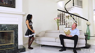 Petite Big Boob Maid Tia Gives A Full Service Cock Cleanup