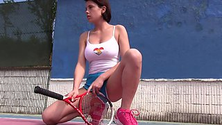 Girl with large breasts in amazing tennis court solo romance