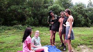 Euro femdom dominates naked sub outdoors