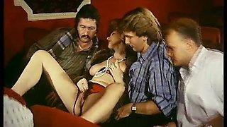 Salacious retro milf enjoys ardent gangbang sex indoors