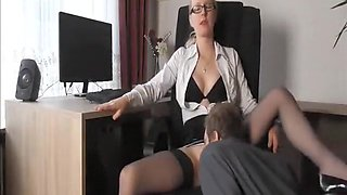 Horny office girl gets some in the work place with...