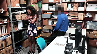 Two Lovely Ebony Shoplifter gets fuck in the office