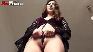 sarah dark moans while masturbating with a dildo