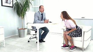 Tempting college babe in kilt skirt Mila Fox flirts with her teacher
