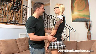 Blonde teen sucks her tutor's hard fat cock and lets him fuck