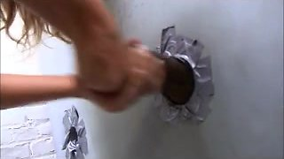 golden-haired doxy takes huge dark knob gloryhole