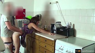son fuck mom in kitchen