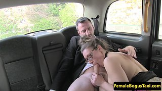Doggystyle drilled cabbie gives sloppy footjob
