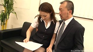 Desirous Asian office lady spreads her legs wide for her boss at work