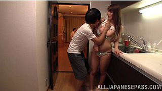 Japanese stepson molest Yuka Kitsu wearing bra & panties into hardcore titjob in kitchen