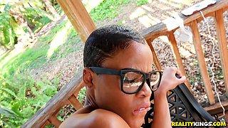 Ebony nerd in glasses with short hair Arie sucking a cum gun