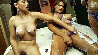 Hottest pornstars Brooke Lee, Gemma Massey and Tommie Jo in crazy dildos/toys, group sex adult scene