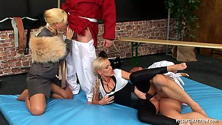 Two insatiable bitches get banged simultaneously in doggy and sideways poses