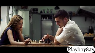 Chess players get horny and enjoy fucking on the table