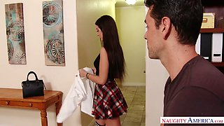 Playful chick Lily Adams passionately nailed by her fellow