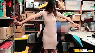 Cute asian shoplifter chick gets rough fucked on CCTV