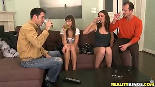 beautiful babes get nailed in a hardcore foursome