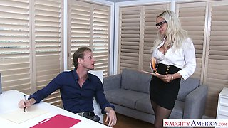 Sex-appeal secretary in stockings and short skirt Kylie Page is fucked in the office