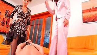 Mistress fucks maid with toy