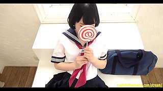Beautiful Teen Mizuho Ishimori Strips Off Her School Uniform And Hides Her Bits With A Lollipop