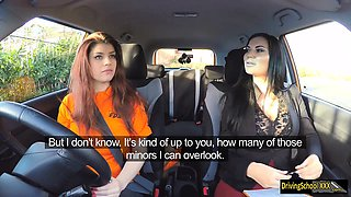 Lucia Love threesome sex in the car during her driving test