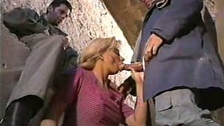Hot blonde white milf on her knees in double barrel BJ action