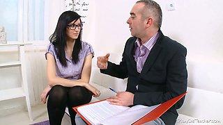 Brunette college girl in glasses seduced by her horny aged teacher