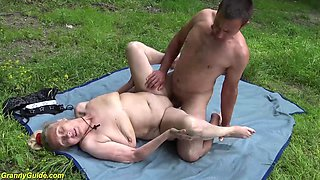 horny 85 years old granny gets extreme rough outdoor fucked by her young toyboy