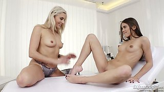 Rather flexible busty blonde MILF Brittany Bardot gets her Czech pussy licked