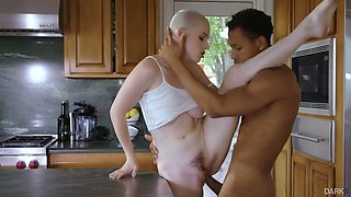 riley nixon fucked by ricky johnson standing up in the kitchen