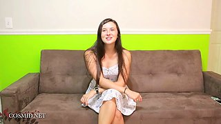 Cute brunette innocent teen stripping at her audition