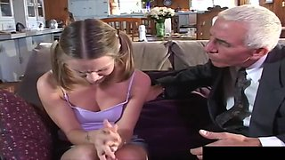 Jasmine and her bisexual friend acting naughty with the mature guy
