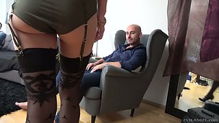 Czech chick in sexy lingerie and stockings Ria Sunn gets double penetrated