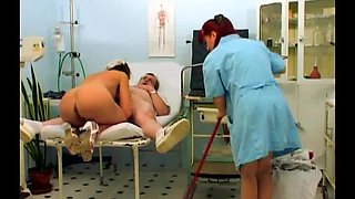 Red head woman has fun with doctor and nurse